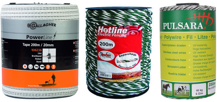 Gallagher Powerline Tape, Hotline Supercharge Rope & Pulsara Stainless Steel Wire