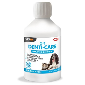 VetIQ 2in1 Denti-Care Oral Hygiene Solution for Cats & Dogs - 250 ML