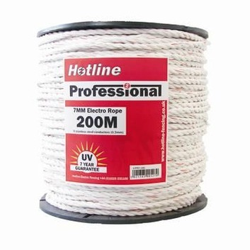 Hotline 7mm White Professional 9 Strand Rope - 200m