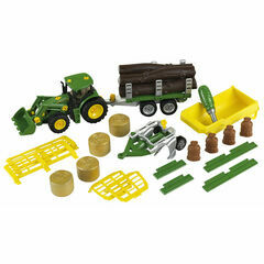 Klein John Deere with trailerset and plough 1:24